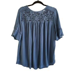 LOFT Blue Lace Front Blouse